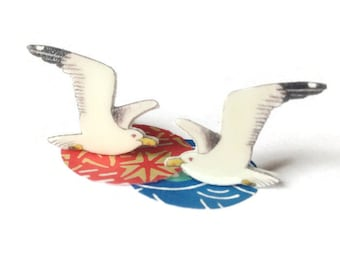 Seagull earrings, flying seagulls, seaside bird studs