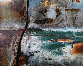 Abstract Photography - Vintage Truck Textures Fine Art Print - Abandoned Turquoise Automobile Macro