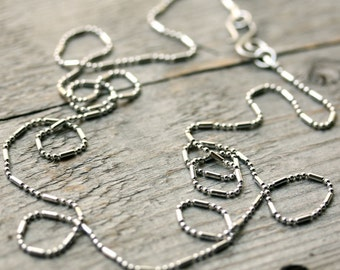 """Stainless Steel Necklace Chain with Handmade Clasp, Long Finished Ball Chain Silver Alternative Ball Bar chain Custom 30"""" 32"""" 34"""" 36"""" inch"""