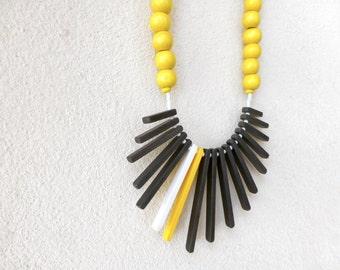 yellow black white geometric tribal necklace , minimalist contemporary jewelry