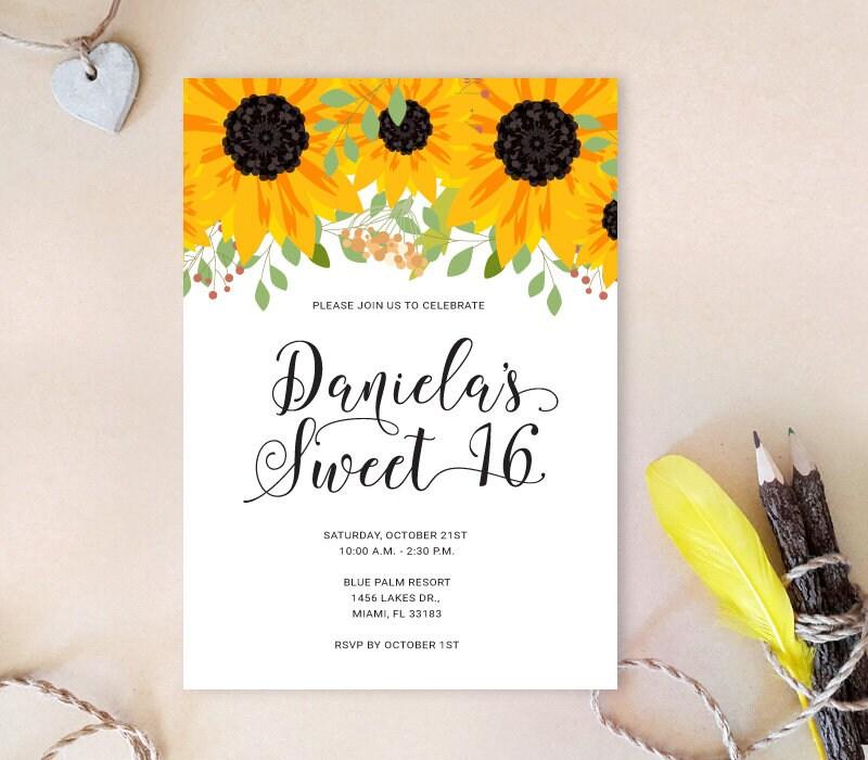 Sunflower 16th birthday party invitation 20th 30th 40th