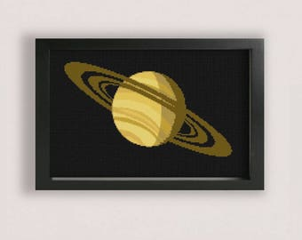 Saturn Cross Stitch Pattern / Printable PDF / solar system cross stitch / space cross stitch / universe cross stitch / xstitch pattern