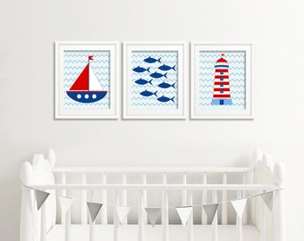 Nautical Nursery print, Nautical Print, Nursery print, Baby shower gift, Kids room, Baby Room, Nursery Sail Boat Lighthouse Fishes prints,