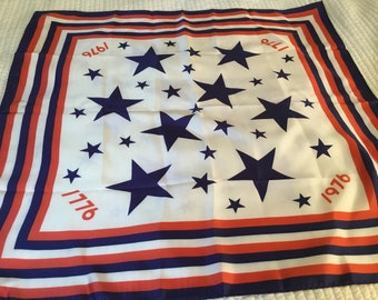 Vintage Scarf Bicentennial Red White Blue Patriotic Square Mint!