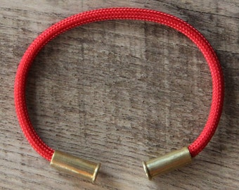 BRZN Recycled .22lr Bullet Casing Red 550 Paracord Bracelet