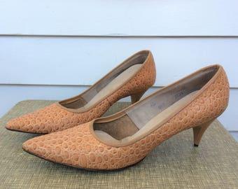 60s Reptile Heels Faux Pointed Toe 9 Vintage Shoes Retro Belle Mode