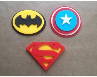 Set of 3 Edible fondant sugar Superhero logo cake plaques - Superman , Captain America and Batman