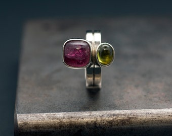 Statement Gemstone Ring, Unique Ring Sterling Silver Natural Pink Tourmaline and Green Peridot, Cocktail Ring, Engagement Two Stone Ring