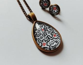 Keith Haring necklace jewelry pendant art graffiti / gift idea