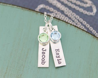 Silver Tag Necklace • Handstamped Tag Name Necklace Mom Jewelry Mother's Day Gift • Custom Name Child Mommy Necklace •Birthstone Mother Gift