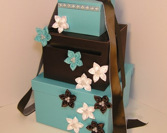 Wedding Card Box Choco Brown and Tffany Blue Gift Card Box Money Box Holder--Customize your color