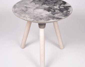Moon Collection | Side Table in Light Grey, Moon Table, Full Moon, Moon Decor, Crescent Moon, Moon Art, Moon Rock, Eclipse, Lunar Eclipse