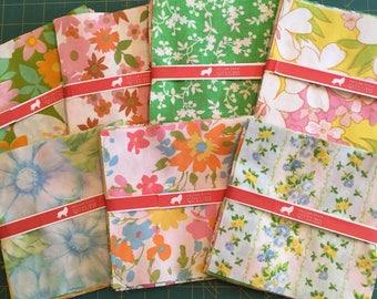 "Vintage Sheet Fabric Squares - (20) 6.5 x 6.5 """