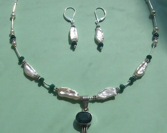NECKLACE SET Emerald, Freshwater Stick Pearls Sterling Silver Drop Set