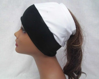 Black and white ponytail cap hole in top, natural hair,bun,braids,runners,gift,hat,style.