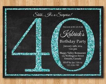 40th birthday invitation for Women. Blue Glitter Birthday Party invite. Adult Surprise Birthday. Elegant. Printable digital DIY.