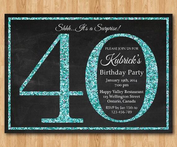 Einladung Zum 40 Geburtstag Frau #60: 40. Geburtstag Einladung Für Frauen.  Blau