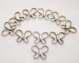 Ten Silver Butterfly Beads