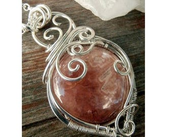Rhodochrosite Sterling Silver Wire Wrapped Pendant Necklace, Handmade Wire Jewelry, Perfectly Twisted Jewelry, Gifts for Her, Holiday