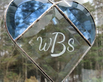 Blue & Clear Beveled Stained Glass Heart Sun Catcher Personalized with a Monogram--an Elegant Gift of Heirloom Quality Craftmanship ByCoco