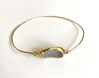 Druzy Gold Bangle Bracelet
