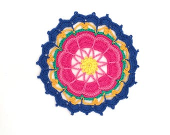 Blue & Purple Mandalas in crochet, doily multicolor, Rainbow Mandala for use in flat or hang. 100% cotton Made in Italy.