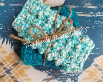 Pampering Spa Bath Set, washcloth, scrubby, bathtub, shower, gift, turquoise, teal, cream