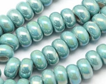 5 x AB mint ceramic beads 8.6x14mm - Lot of 5 beads - Porcelain rondelle beads - Mint beads - Light green beads - Jewelry findings [CB002]