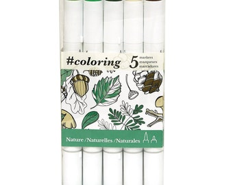 5 Dual Tip Book Coloring, Bible Journaling, Lettering Markers; Fine & Large/Brush Nibs; Art, Illustrations, Manga Markers; Forest Colors