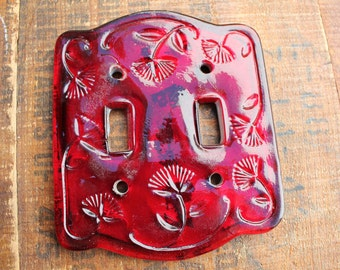 Vintage Red Glass Double Light Switch Plate