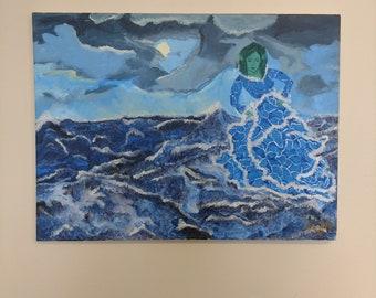 Mermaid Dancing on the Waves of Water
