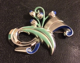 DECO Vintage Pin, Lily of the Valley Brooch, Mid CENTURY MODern, 1940's 1950's Silver Chrome & Cold Painted ENAMEL Brooch