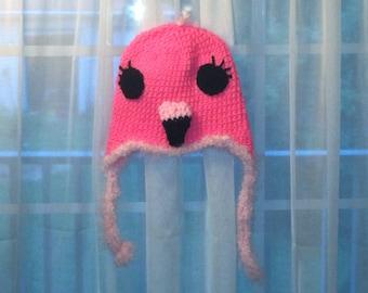 Florence the flamingo crochet hat
