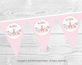 INSTANT DOWNLOAD Pink Peter Rabbit Bunting - Decoration - Printable Birthday, Party, Decor - Printable