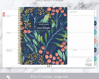 8.5x11 weekly planner 2018 2019   choose your start month   12 month calendar   LARGE WEEKLY PLANNER   navy watercolor floral