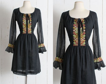 Vintage 1960s Dress | vintage 60s black peasant dress | embroidered cotton | ruffle sleeves | Alden Fashions | xs/s small sm s