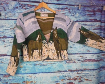 Womens Southwest Canyon Hook & Eye Closure Short Jacket Horses Outdoor Pattern L