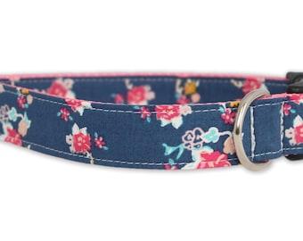 Flower Dog Collar - Aurora Dog Collar - Blue Dog Collar - Floral Dog Collar - Navy flower dog collar - spring dog collar - girl dog collar