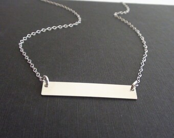 10% Off Sterling Silver Horizontal Bar Connector Necklace, simple modern necklace, Christmas gift