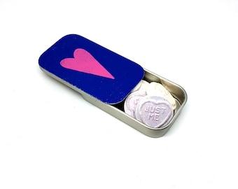 Blue Heart Pill Box - Pill Tin - Tin Anniversary Gift - Enamel Storage Tin - Gift Tin - Wedding Favours - Pill Holder - Pill Case -