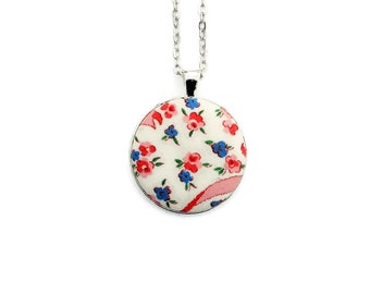Vintage Floral Fabric Pendant Necklace