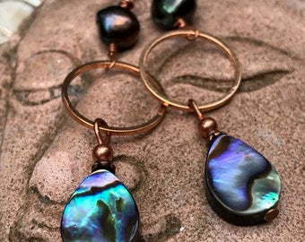Abalone jewelry- seashell jewelry-  abalone earrings- wire wrapped jewelry- wire wrapped copper