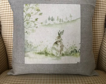 "Rabbit Linen Pillow Cover 16"" Square"