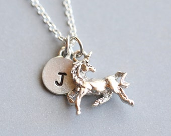 Unicorn Necklace, Gift for Unicorn Lover, Personalized Unicorn Necklace, Personalized Necklace, Initial Necklace, Gift for Friend