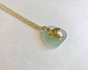 Genuine Seafoam Green Sea Glass & Yellow Gold Sea Turtle Necklace