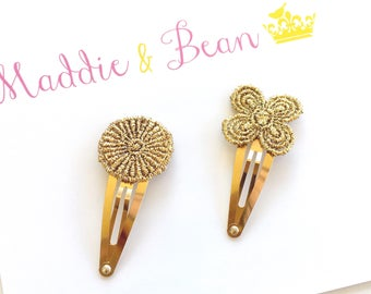 Gold Hair Clip, Hair Clips for Girls, Snap Clips, Hair Clips Toddler, Baby Girl Hair Clips, Infant Hair Clip, Gold Hair Accessories, Clips