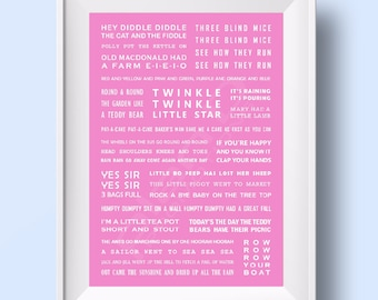 Nursery Rhymes Print for girls / newborns / babies. PINK A3 size