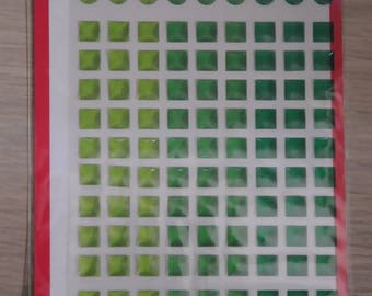 Sheet of stickers mosaic plastic green shades