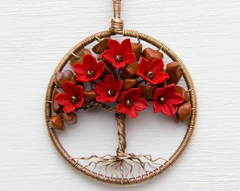 "Beauty gift Tree-Of-Life Necklace Pendant 1.8"" Copper Wire Wrapped Pendant Wired Copper Jewelry Wire Wrapped ModernTree Red Necklace JF27"