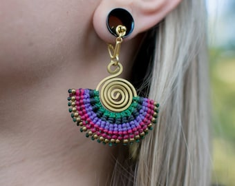 Available in Multile Colors- Wire and Macrame Magnetic Clasp Gauged Earrings